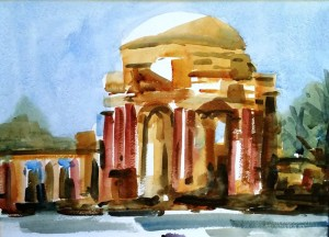 "Palace of Fine Arts watercolor $350 16""x20"" 2016"